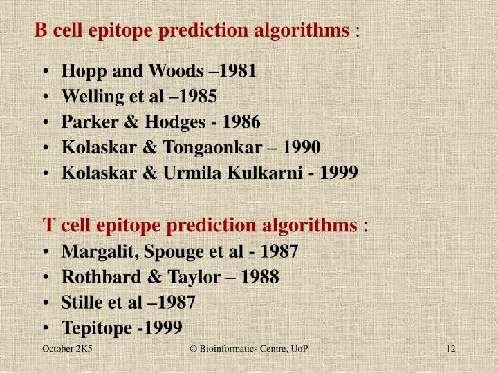 B cell epitope prediction algorithms