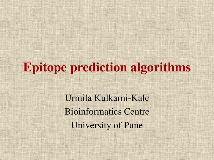 Epitope prediction algorithms