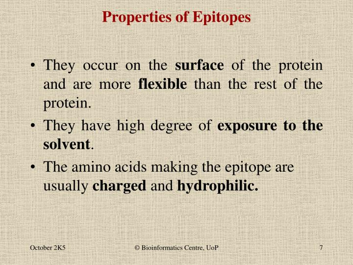 Properties of Epitopes