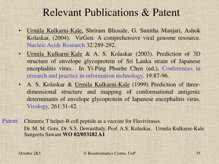 Relevant Publications & Patent