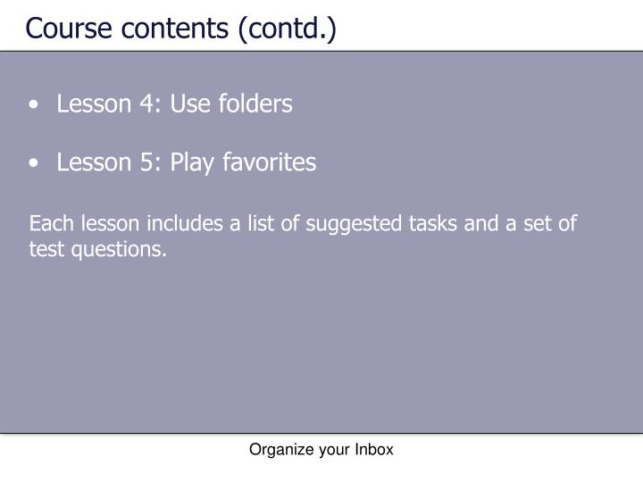 Course contents (contd.)