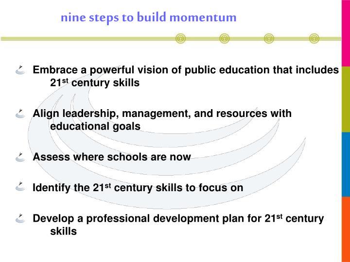nine steps to build momentum