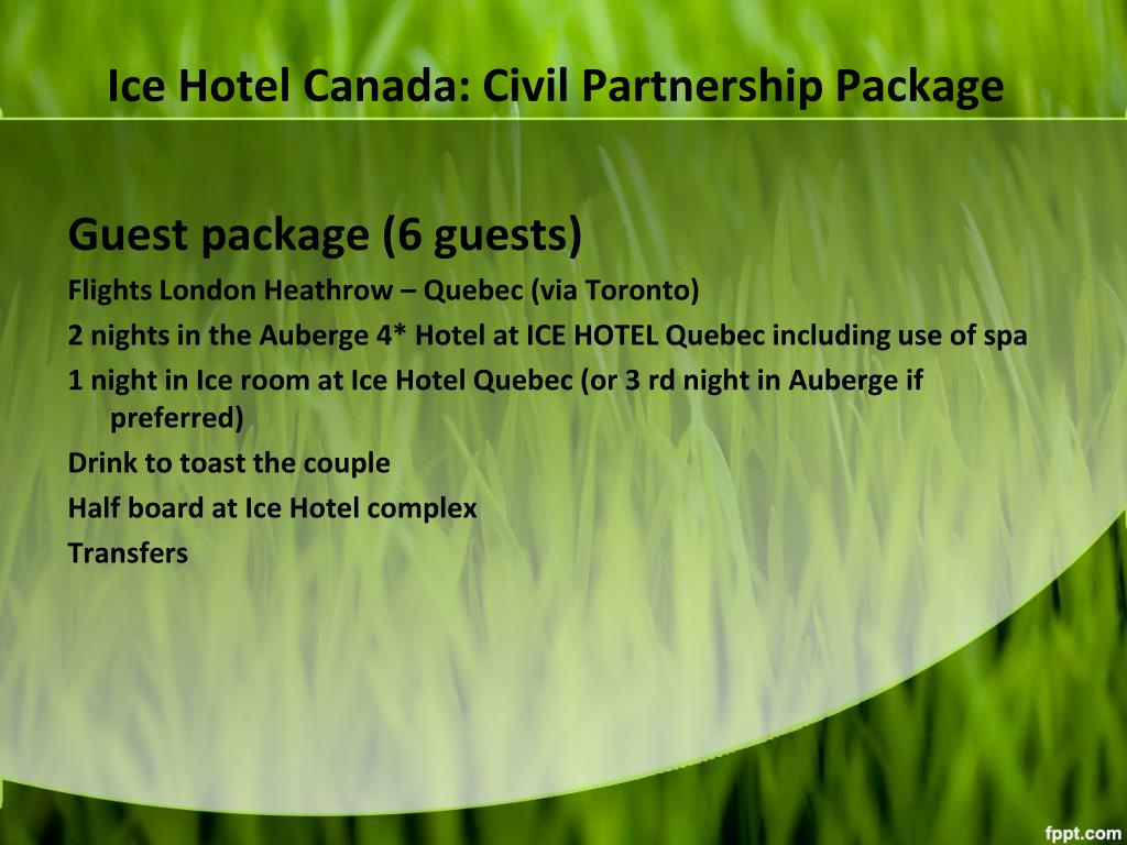Ice Hotel Canada: Civil Partnership Package