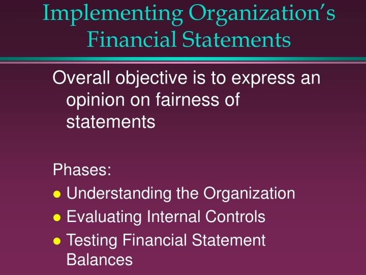 Implementing Organization's Financial Statements