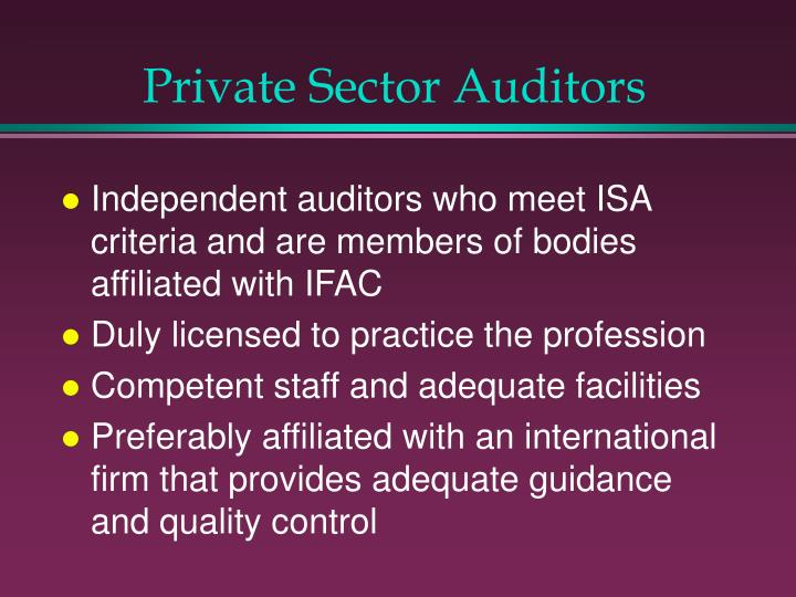 Private Sector Auditors