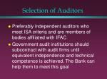 selection of auditors
