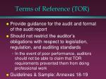 terms of reference tor