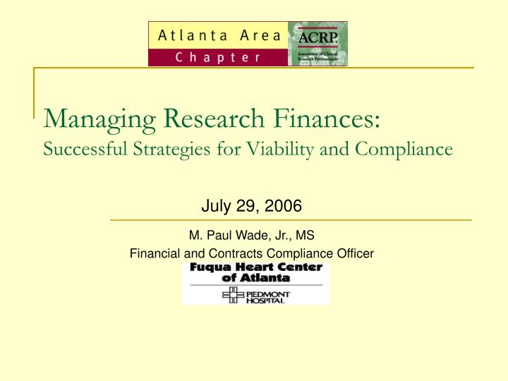 Managing Research Finances: