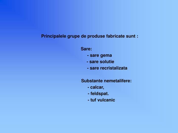 Principalele grupe de produse