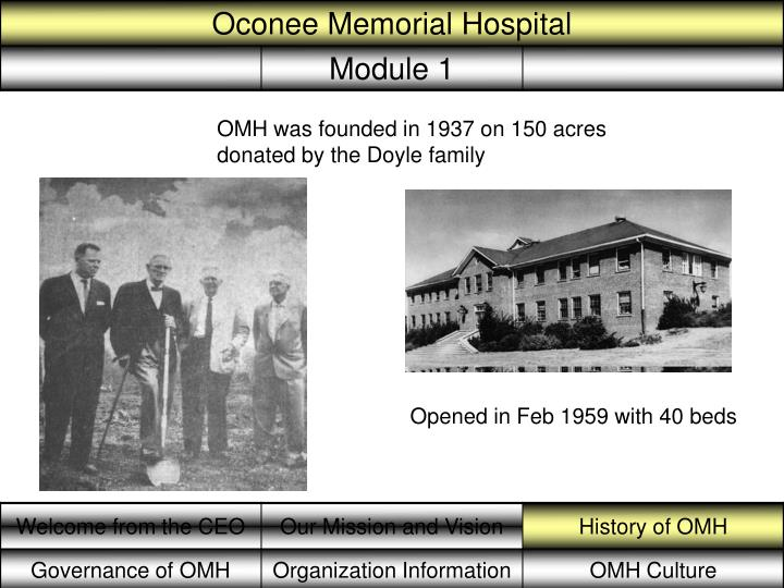 OMH was founded in 1937 on 150 acres donated by the Doyle family