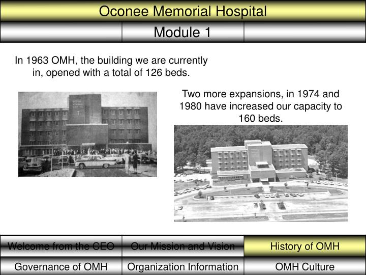 In 1963 OMH, the building we are currently in, opened with a total of 126 beds.