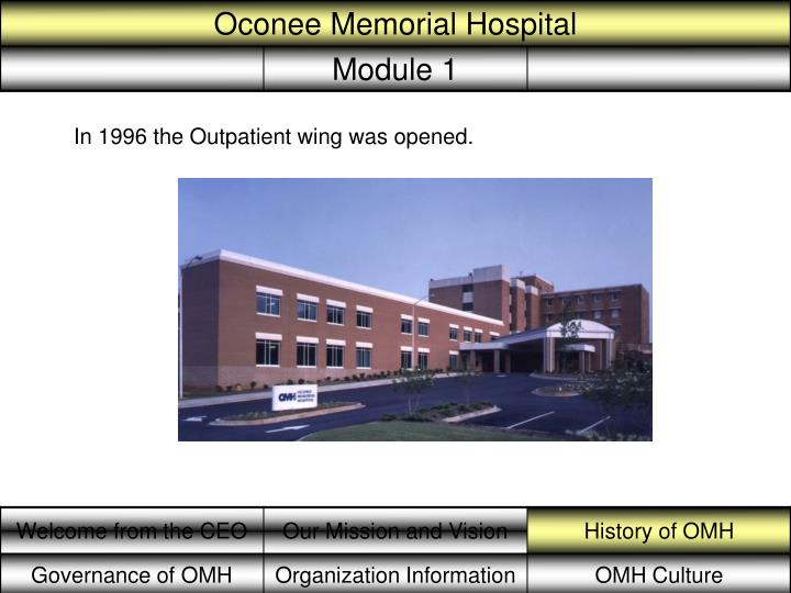In 1996 the Outpatient wing was opened.