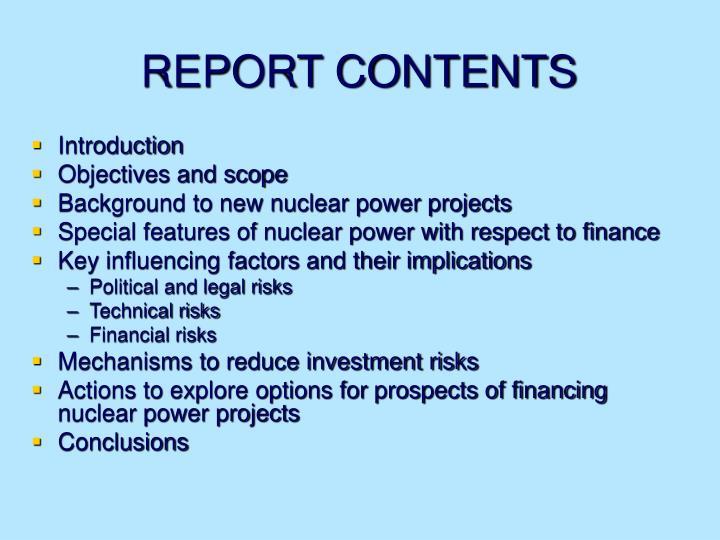 REPORT CONTENTS