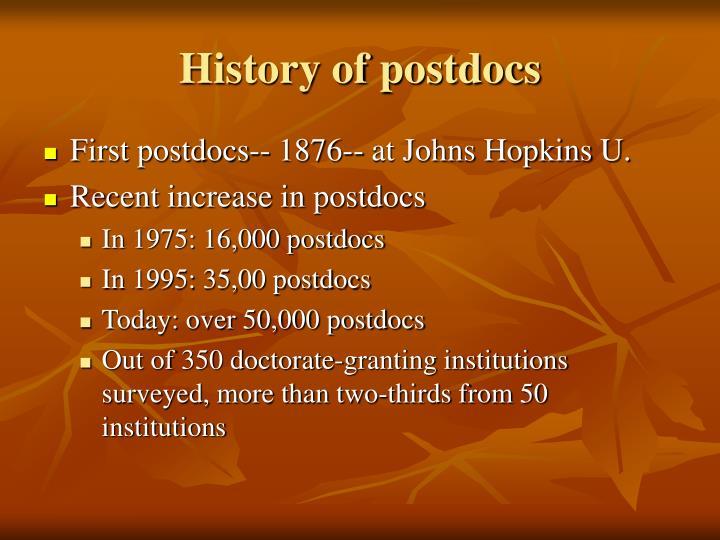History of postdocs