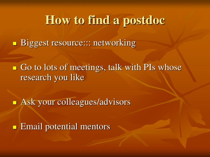 How to find a postdoc