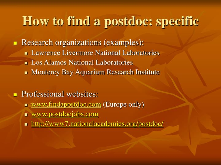 How to find a postdoc: specific