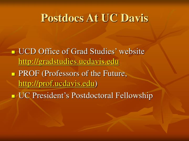 Postdocs At UC Davis