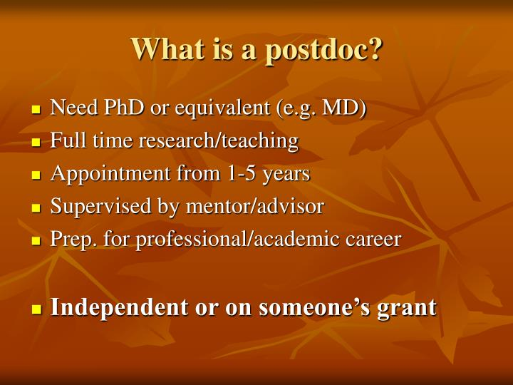 What is a postdoc?