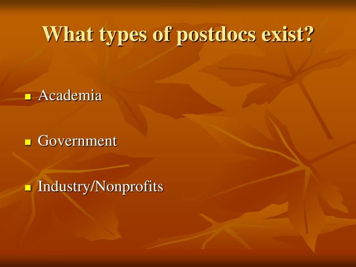 What types of postdocs exist?