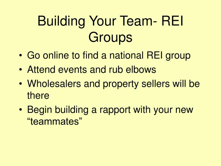 Building Your Team- REI Groups