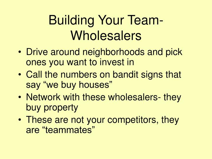 Building your team wholesalers