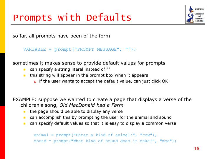 Prompts with Defaults