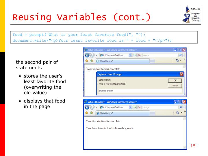 Reusing Variables (cont.)