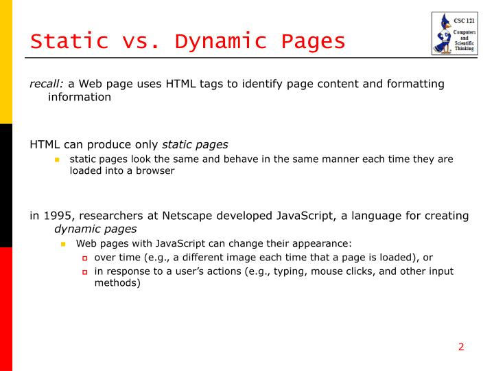 Static vs dynamic pages