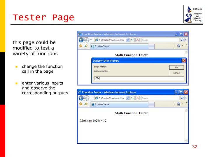 Tester Page