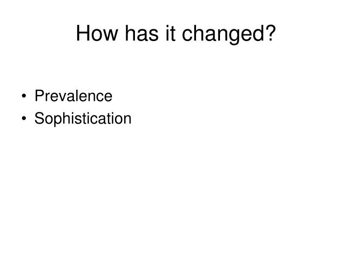 How has it changed?