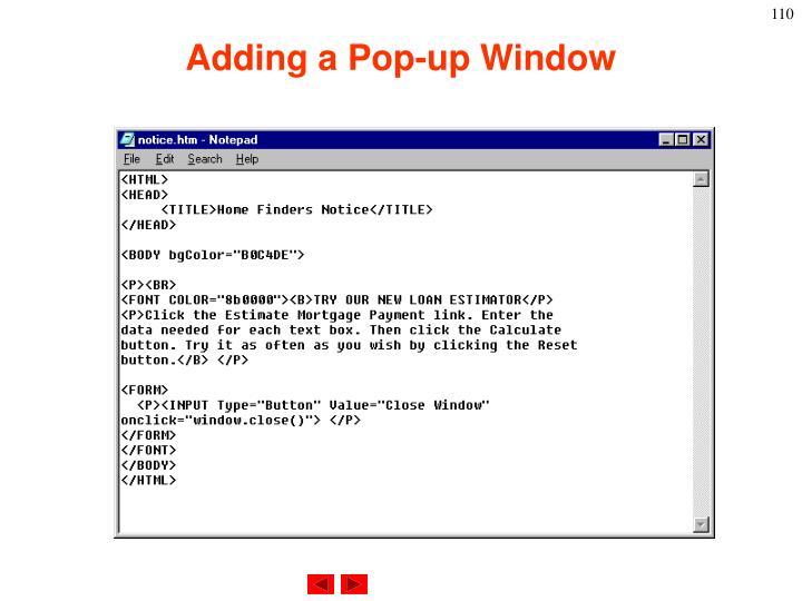 Adding a Pop-up Window