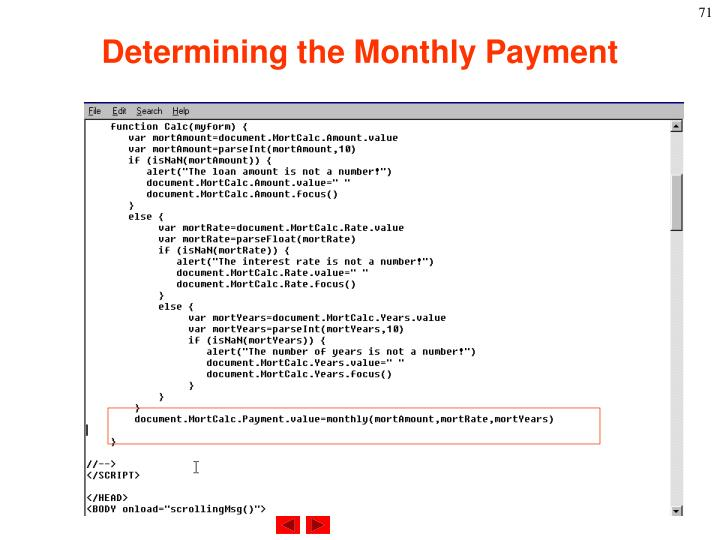 Determining the Monthly Payment
