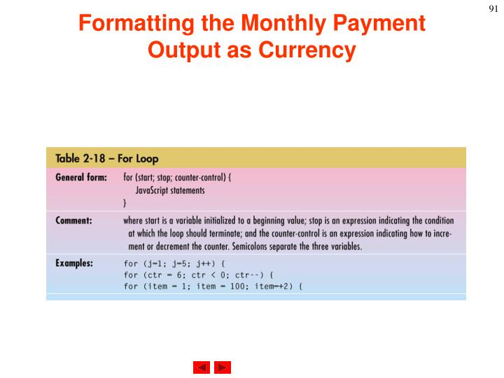 Formatting the Monthly Payment Output as Currency