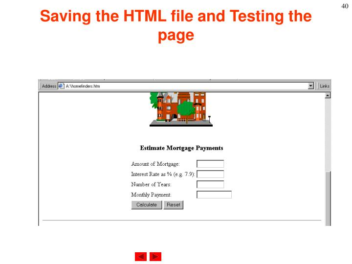 Saving the HTML file and Testing the page