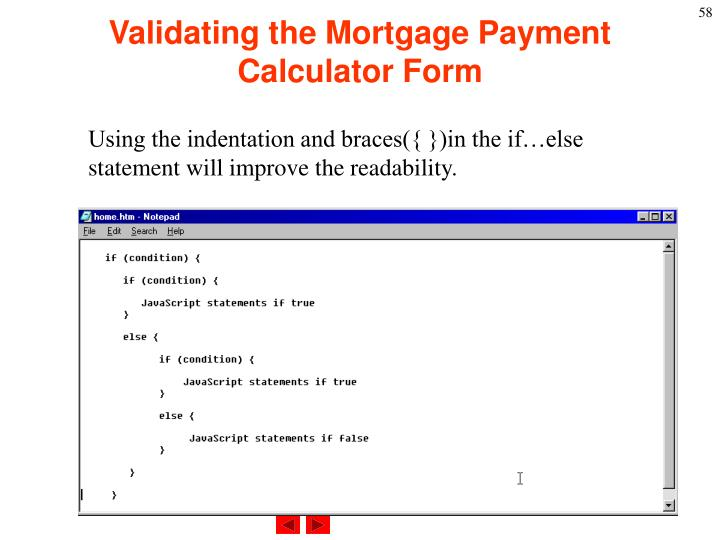 Validating the Mortgage Payment Calculator Form
