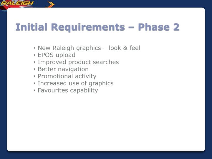 Initial Requirements – Phase 2