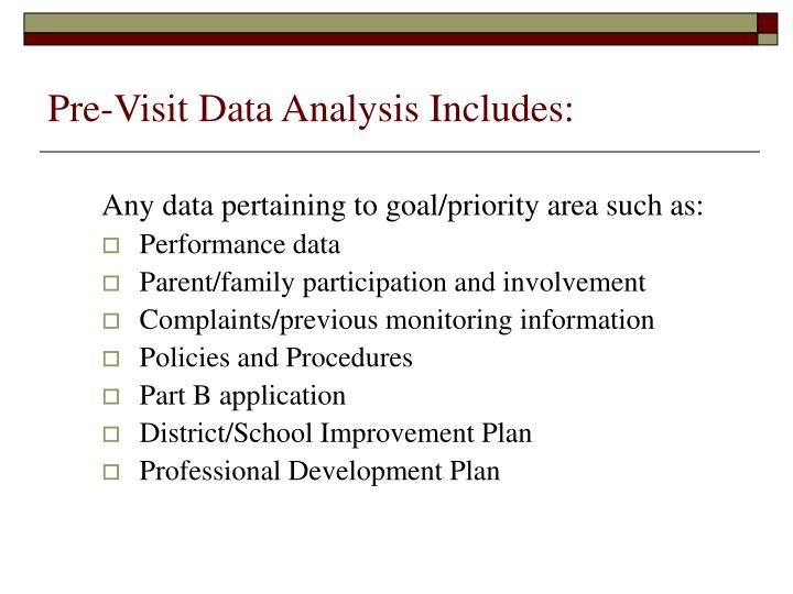 Pre-Visit Data Analysis Includes: