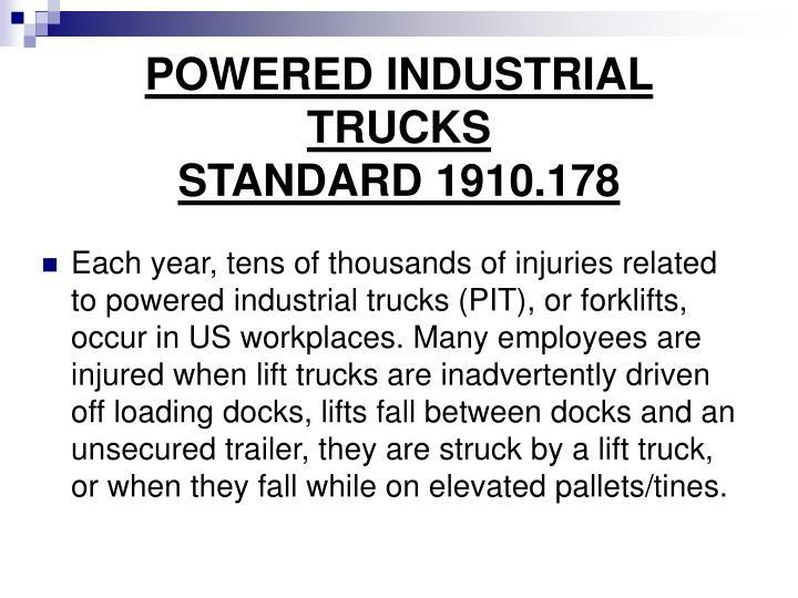 POWERED INDUSTRIAL TRUCKS