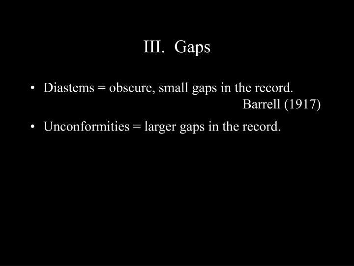 III.  Gaps