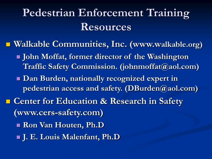 Pedestrian Enforcement Training Resources