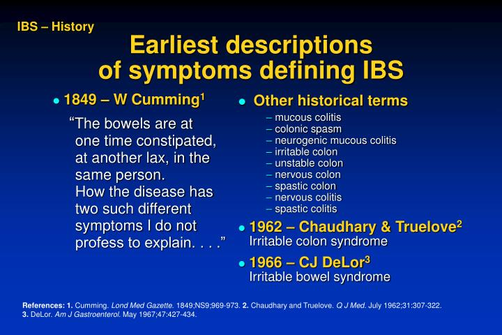 Earliest descriptions of symptoms defining ibs