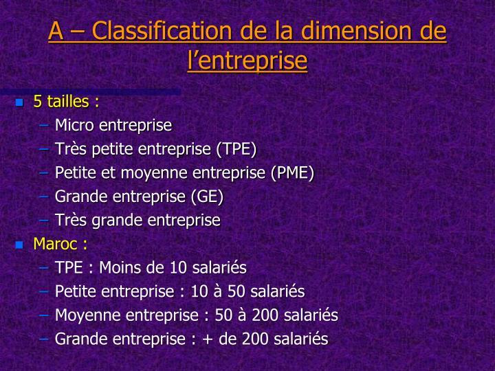 A – Classification de la dimension de l'entreprise