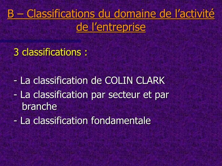 B – Classifications du domaine de l'activité de l'entreprise