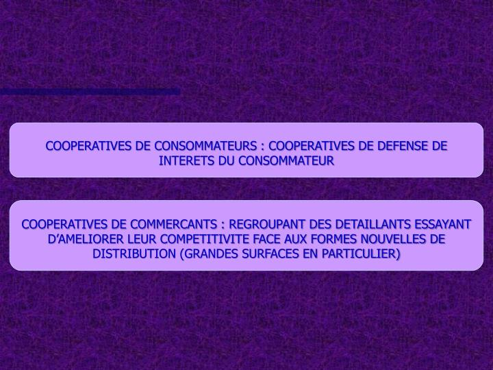 COOPERATIVES DE CONSOMMATEURS : COOPERATIVES DE DEFENSE DE INTERETS DU CONSOMMATEUR