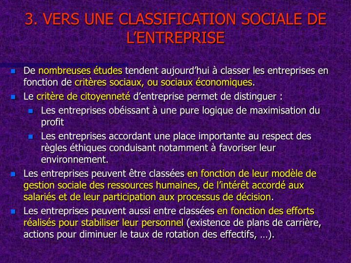 3. VERS UNE CLASSIFICATION SOCIALE DE L'ENTREPRISE