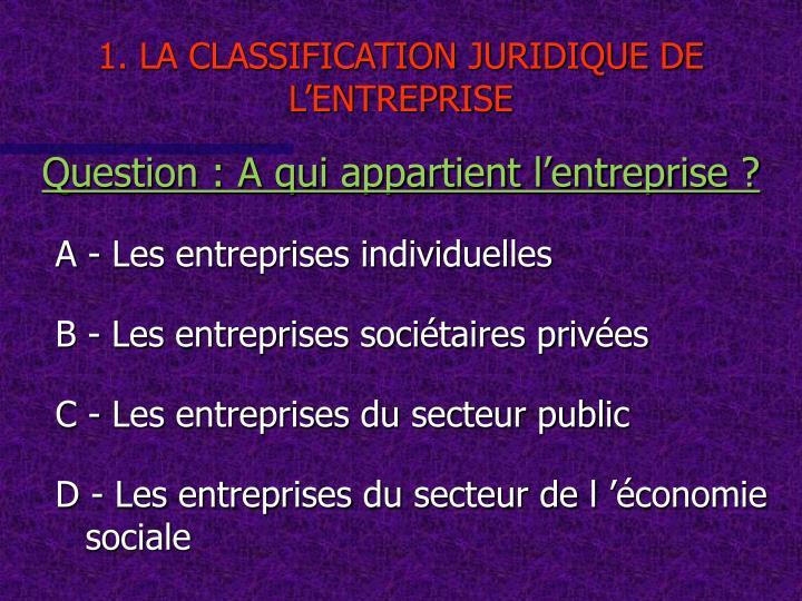 1. LA CLASSIFICATION JURIDIQUE DE L'ENTREPRISE