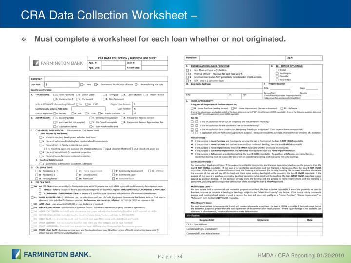 CRA Data Collection Worksheet –