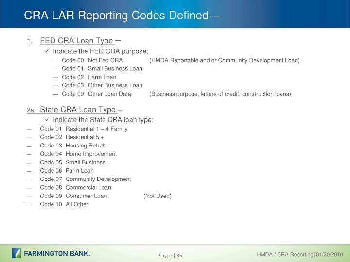 CRA LAR Reporting Codes Defined –