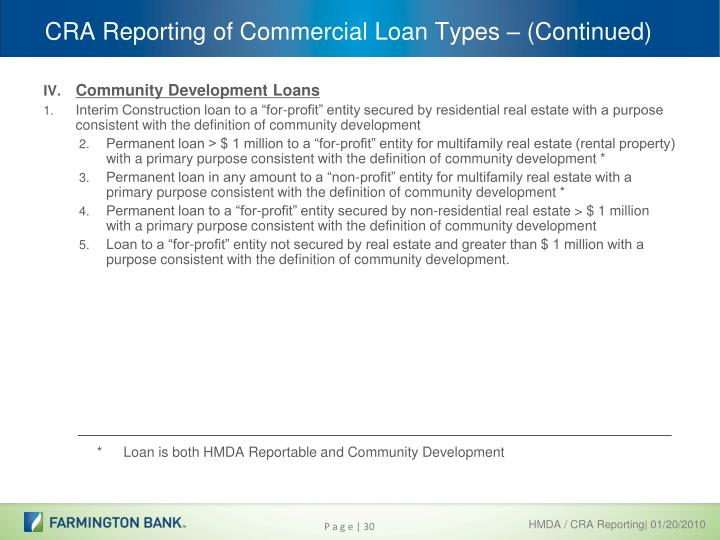 CRA Reporting of Commercial Loan Types – (Continued)