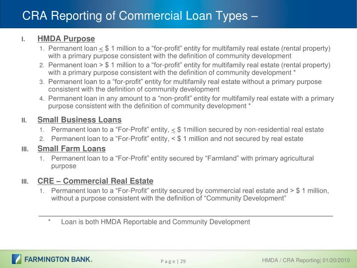 CRA Reporting of Commercial Loan Types –